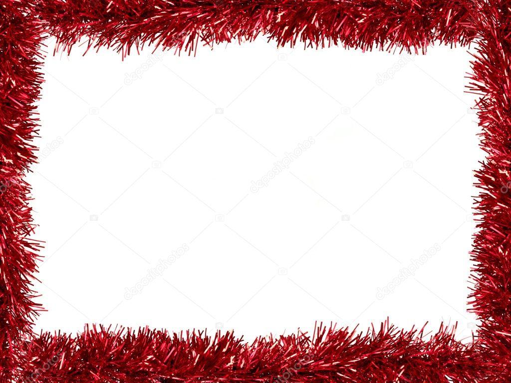 圣诞节金属丝作为孤立的白色背景边框