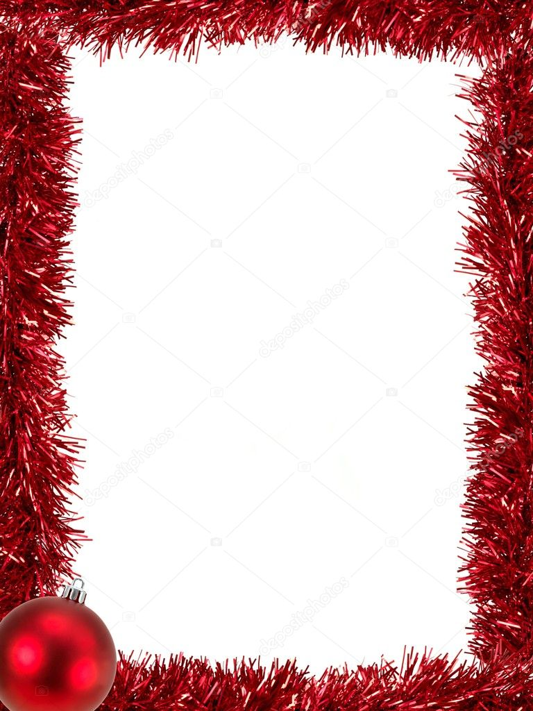 Christmas Tinsel as a border isolated against a white background — Stockfoto #4199263