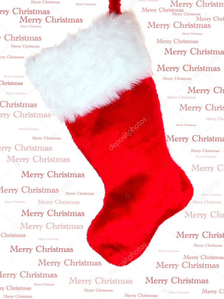 A Christmas Stocking isolated against a white background — Stock Photo #4470433