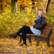 Girl in golden autumn park — Stock Photo #4209236