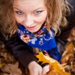 Girl in golden autumn park — Stock Photo #4209264