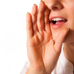 Yelling woman mouth closeup — Stock Photo