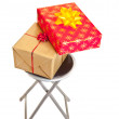 Christmas gifts boxes with ribbons isolated on white — Stok Fotoğraf #4367385