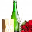 Valentine's day roses and champagne wine isolated on white — Stock Photo