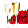 Valentine's day roses and champagne wine isolated on white — Stock Photo #4619826