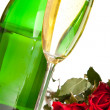 Valentine's day roses and champagne wine isolated on white — Stock Photo #4619842