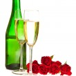 Valentine's day roses and champagne wine isolated on white — Stock Photo #4619889