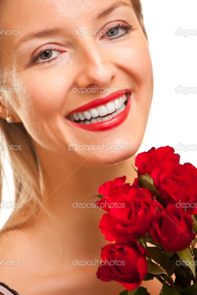 Beautiful caucasian woman with red roses on white isolated background — Stock Photo #4620012