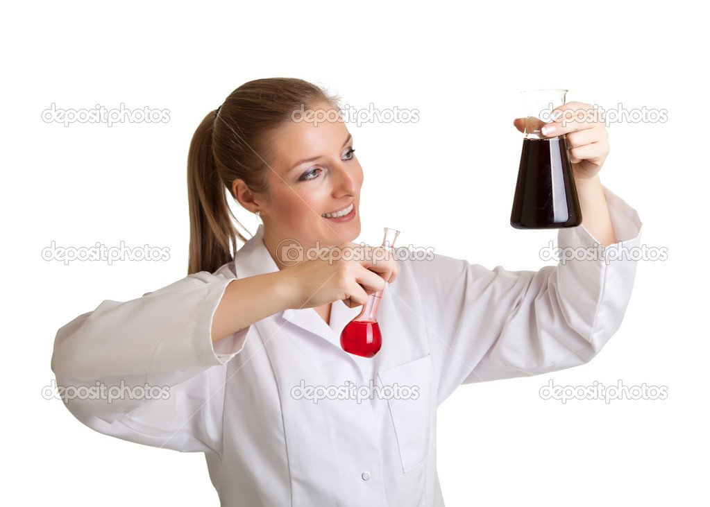 Isolated scientist woman in lab coat with chemical glassware  — ストック写真 #4748162