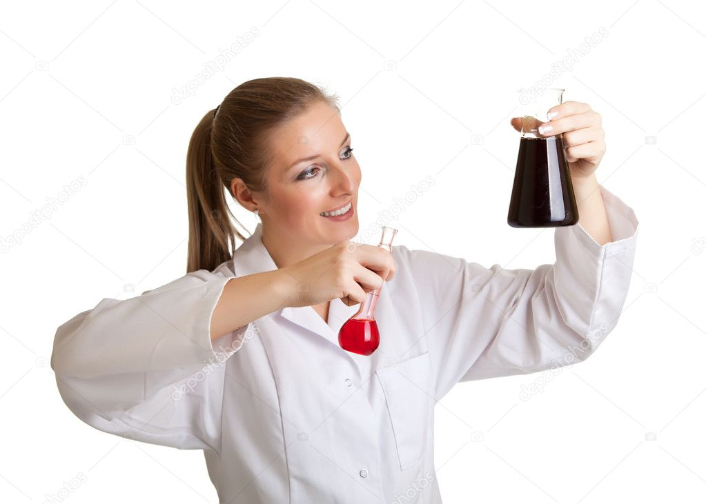 Isolated scientist woman in lab coat with chemical glassware  — Stok fotoğraf #4748162