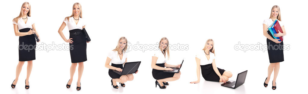 Woman in office different poses isolated on white — Stock Photo #4954733