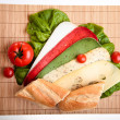 Different sandwiches with vegetables and cheese isolated — Stock Photo