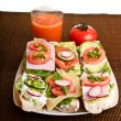 Different sandwiches with vegetables and cheese isolated — Zdjęcie stockowe