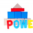 Power concept from wooden toy blocks - Photo