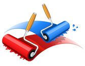 Painting red and blue — Stock Vector