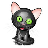 Little black cat — Stock Vector