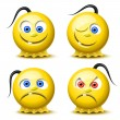 Four glossy smileys — Stock Vector #5307281