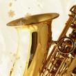 Stock Photo: Golden Sax against Winter Background.