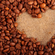 Sign of the heart of the coffee beans — Stock Photo