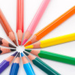 Triangular color pencils circle — Stock fotografie