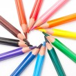 Triangular color pencils circle — Stockfoto