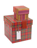 Gift boxes with blank tag — Стоковое фото