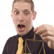 Business man holding a justice scale — Stock Photo #5127014