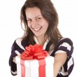 Girl holding a gift — Stock Photo #5127041