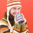Smiling woman with cup — Stock Photo