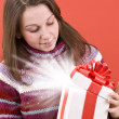 Open a magic Christmas gift — Stock Photo #5127153