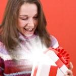 Open a magic Christmas gift — Stock Photo