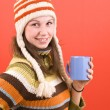 Stock Photo: Smiling womwith cup
