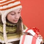 Open a magic Christmas gift — Stock Photo #5127175