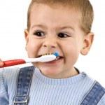Boy brushing — Stock Photo