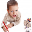 Little boy drawing — Stockfoto