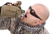 Military drinking — Stock Photo