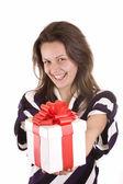 Chica sosteniendo un regalo — Foto de Stock