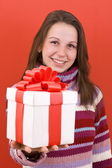 Meisje houdt van een geschenk — Stockfoto