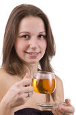 Woman dirinking tea — Stockfoto