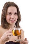 Woman dirinking tea — Stock Photo