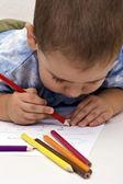 Pojke ritning — Stockfoto