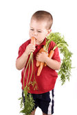 Boy and carrot — Stockfoto