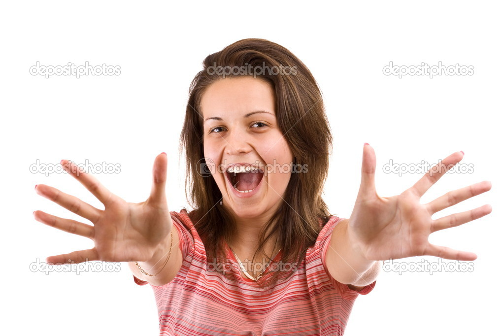 Portrait of excited young woman pointing with both hands towards the camera isolated on white  — Stock Photo #5127032