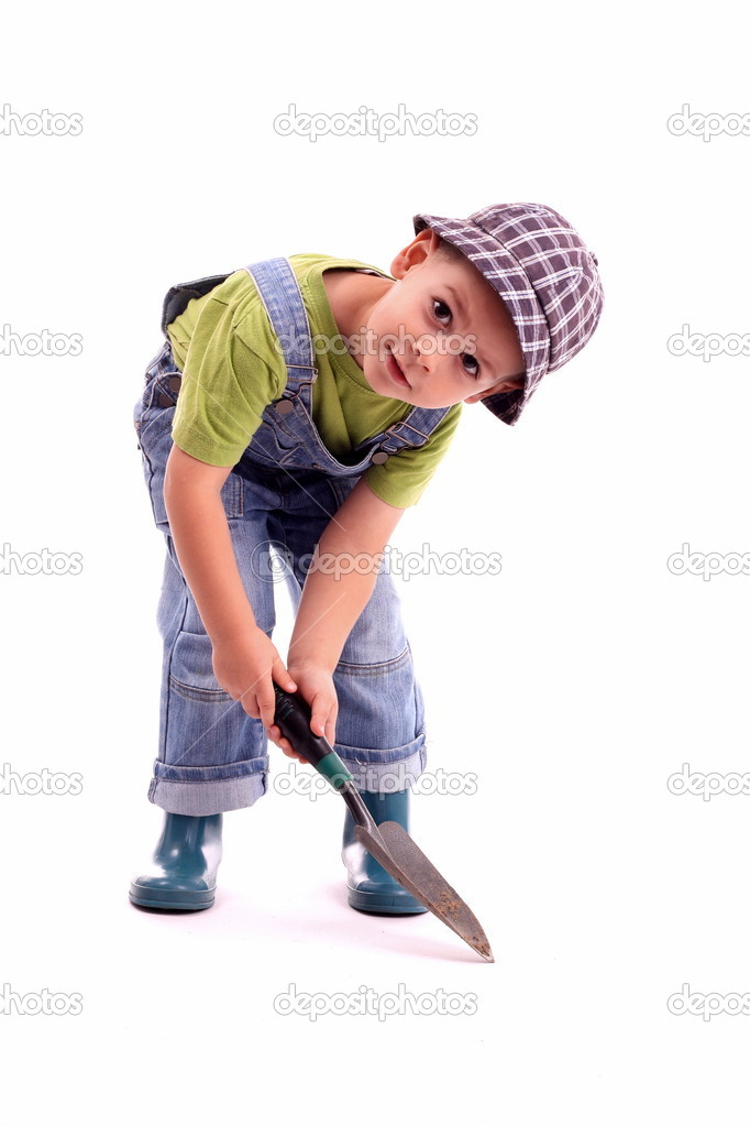 Gardener - boy in working, isolated in white — Stock Photo #5127542