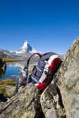 Backpack in front of the Matterhorn — Stock Photo