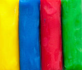 The four fundamental colours in modelling clay — Stock Photo