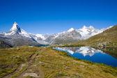 Matterhorn, Nadelhorn and Stelisee — Stock Photo