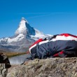 Backback and Matterhorn - Stock Photo
