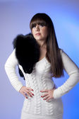 Girl with black fur — Stock Photo