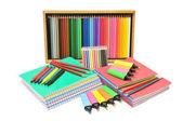 Notebooks en potloden — Stockfoto